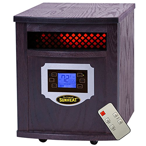 Sunheat International Sh-1500Lcd Electric Portable Infrared Heater With Remote Control And Lcd Display, 1500-Watt, Black Cherry front-1075701