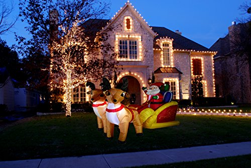 Christmas Inflatable 6 Feet Santa on Sleigh with two Reindeers Yard Decoration