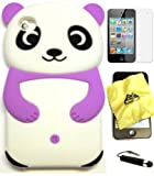 BUKIT CELL (TM) PURPLE Cute Panda 3D Cartoon Soft Silicone Gel Skin Case Cover for IPOD TOUCH 4 4G 4TH GENERATION + Free Screen Protector + Free METALLIC Detachable Touch Screen STYLUS PEN with Anti Dust Plug