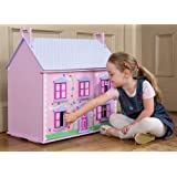 New in Box Pretty Pink 3 Storey Wooden Honeycomb Dolls House Kit