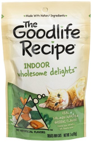 The Goodlife Recipe Indoor Wholesome Delights Salmon & Garden Greens Flavor Treats for Cats, 3-Ounce Pouches (Pack of 12)