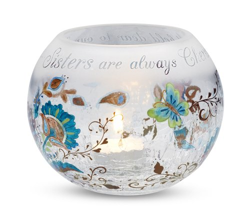 Perfectly Paisley Sister Crackled Glass Candle Holder, 5-Inch Round, Inspirational Saying
