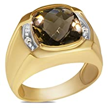 buy Diamond .04Ct Diamond Men'S Ring With Smokey Quartz In 10K Yellow Gold With Open Back