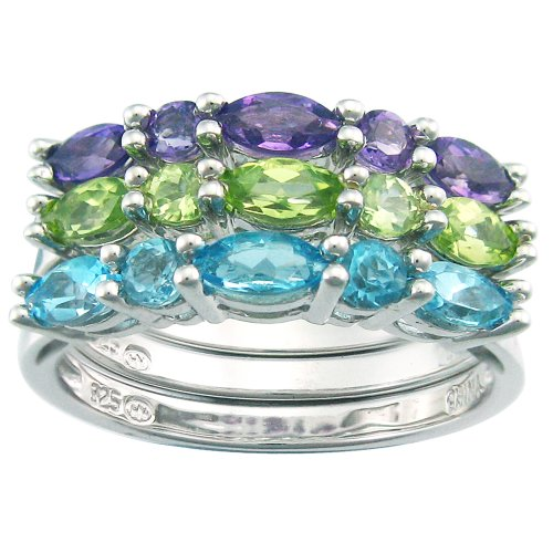 Sterling Silver Multi-Stone 3 Band Stackable Ring Set, Size 7