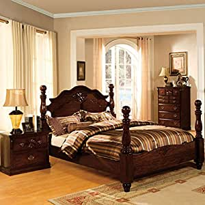 Tuscan Colonial Style Dark Pine Finish Cal King Size 6 Piece Bedroom Set Kitchen