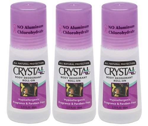 Crystal Body 30063 Crystal Body Deodorant, 2.25-Ounce Roll-Ons in 3 Bottles Packages (Pack of 2)