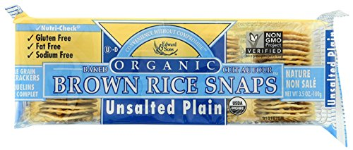 Brown Rice Snaps, Unsalted Plain with Organic Brown Rice, 3.5-Ounce Packs (Pack of 12)
