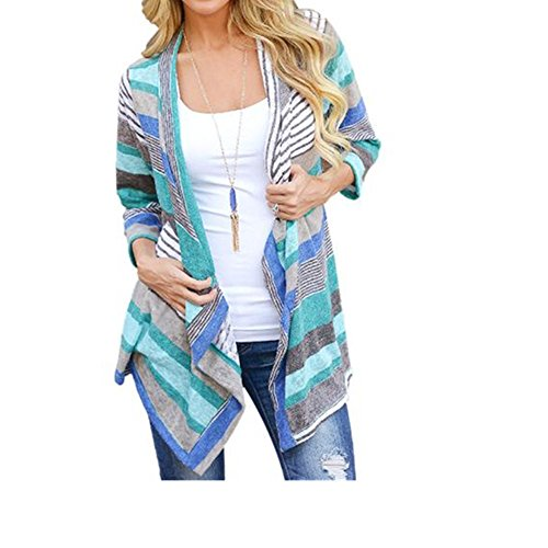 Lisingtool Women's Irregular Stripe Shawl Kimono Cardigan Tops Cover Up Blouse