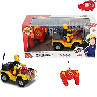 RC Feuerwehr Quad mit Feuerwehrmann Sam, ferngesteuert, 16 cm, Frontlicht: Auto Löschfahrzeug Feuerwehr Mann Fahrzeug Rettungswagen