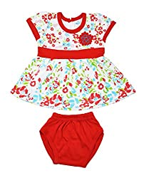 kandyfloss Baby Girls' Cotton Clothing Set (MRHKF-RED-FROCK-58--3-6 Months, Red, 3-6 Months)