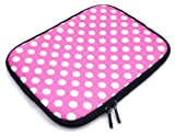 Flash Superstore Polka Dots Hot Pink / White Water Resistant Neoprene Soft Zip Case/Cover suitable for Toshiba Satellite C660D-1C7 ( 15-16 Inch Laptop / Notebook )