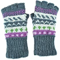 Silly Yogi Womens Knitted Winter Fingerless Gloves/Mittens-Grey-One size