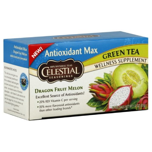 Celestial Tea Antioxident Max Green Tea - Dragon Fruit Melon, 20-Count (Pack of 6)