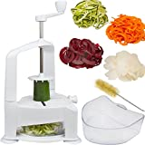 Brieftons Vertico Spiralizer: Vegetable Spiral Slicer, Fresh Veggie Spaghetti & Pasta Maker For Low Carb Healthy...