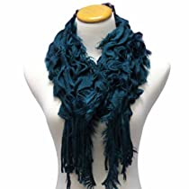 Teal Blue Ruffled & Layered Frilly Scarf With Fringe