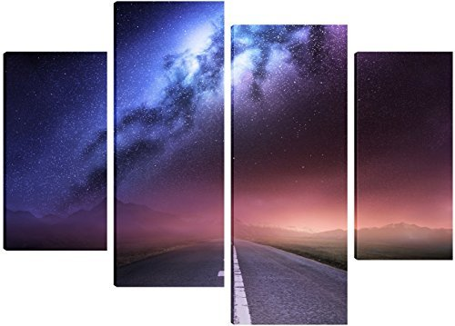milky-way-galaxy-from-earth-canvas-art-4-split-panel-design-71cm-x-101cm-free-hanging-kit-included-b