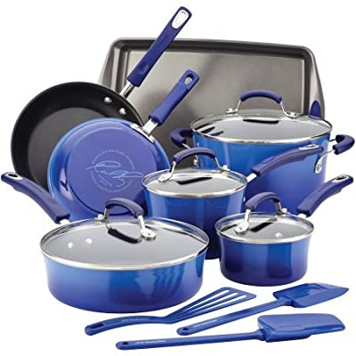 Rachael Ray Hard Enamel Nonstick 14-Piece Cookware Set, Blue Gradient