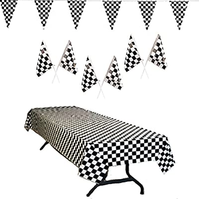 Race Car Party Supplies - Checkered Tablecover, 100 ft Pennant Flag Banner, and Plastic Checkered 7 Inch Flags (24), Total 26 pieces