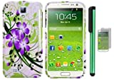 Samsung Galaxy S4 i9500 Combination - Premium Pretty Design Protector Hard Cover Case / Screen Protector Film / 1 of New Assorted Color Metal Stylus Touch Screen Pen (Splash-ink Painting Purple Green Flower On White)