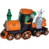 7 Foot Long Halloween Inflatable Skeleton on Train 2013 Yard Decoration