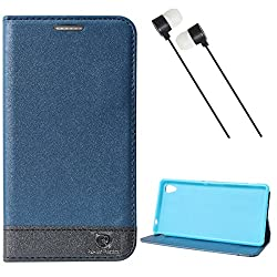 DMG Sony Xperia M4 Aqua Dual Flip Cover, DMG PRaiders Premium Magnetic Wallet Stand Cover Case for Sony Xperia M4 Aqua Dual (Pebble Blue) + Black Stereo Earphone with Mic and Volume Control