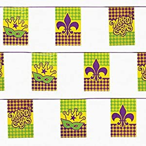 Mardi Gras Pennant Flag Banner (100ft) by Oriental Trading Company