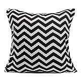 43cm x 43cm Wave Stripes Print Linen Cushion Cover Sofa Cotton Pillow Case