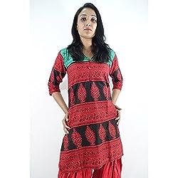 ShopMore Cotton Short Kurta(Red_Medium)