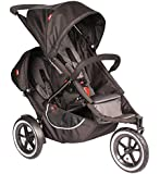 Phil&Teds Classic Stroller w/ Doubles Kit + Canopy for Doubles Kit, Black/Grey