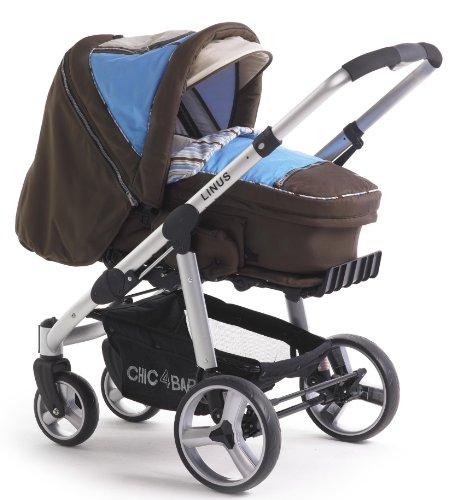 Imagen principal de CHIC 4 BABY Kinderwagen LINUS 150 41 - Carrito 3 en 1, reversible, de aluminio ligero, color marrón y azul
