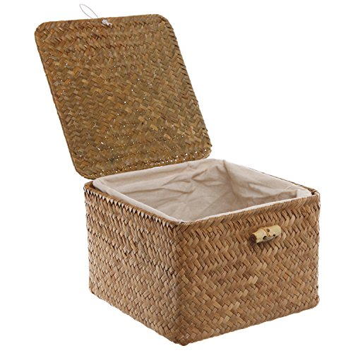 Brown Hand Woven Rattan Home Storage Basket / Decorative Box with Lid & Removable Fabric Lined Interior