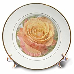 3dRose cp_29396_1 Peach Rose Bless This Home Inspirational Quotes Flowers-Porcelain Plate, 8\