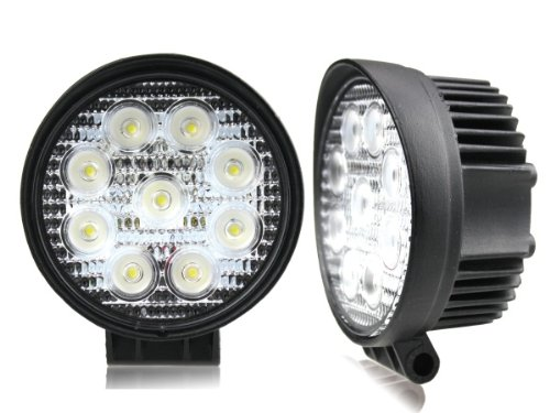 Taotronics® Pack Of 2 Led Flood Work Light Off Road Round Atv Lighting 6000K White 27W 12Volt 24Volt Trailer Tractor Lighting