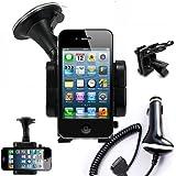 iBroz® iPhone Support Voiture Ventouse Extra Forte avec rotation à 360° pour Fixation sur Pare Brise, sur Grille de Ventilation ou sur Tableau de Bord pour iPhone 4 / 4S / iPhone 3GS / 3G / V1 / iPOD Touch + Chargeur Auto