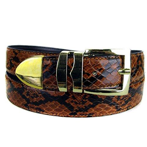 Bltby-Snkg-3-18 - Orange - Black - Boys Snake Skin Bonded Leather Belt