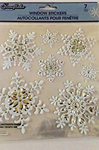 Snowflake Window Clings Embellished Stickers (1 Sheet of 7 Clings, White & Silver) from Greenbrier International