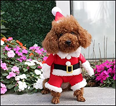 NACOCO Pet Christmas Costumes Dog Suit with Cap Santa Suit Dog Hoodies Dog Costumes