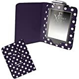 Xtra-Funky Exclusive PU Leather Book Wallet Folio Style Case For Amazon Kindle Touch 7th Gen (2014 Model) with Integrated Fold Away Light - Polka Purple