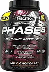 MuscleTech Phase 8 Protein Powder, Multi-Phase 8-Hour Protein Formula, Milk Chocolate, 4.6 lbs (2.10kg)