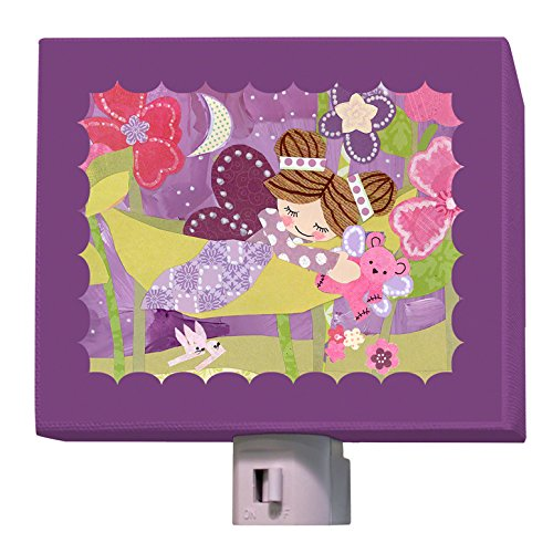 "Oopsy Daisy Slumbering Fairy Brunette Night Light, Purple, 5"" x 4"""