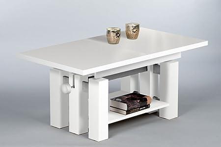 Stella Trading Nina Couch-/Wohnzimmertisch, Höhenverstellbar, Holz, weiß, 145 x 60 x 65 cm