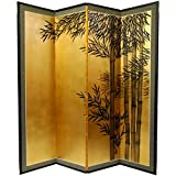 Oriental Furniture 5 1/2 ft. Tall Gold Leaf Bamboo Room Divider