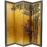 "Unique Zen Japanese Style Decor - 72"" x 72"" Bamboo Art Gold Leaf Decorative Screen Room Divider"