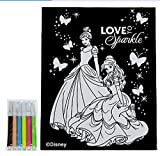 Disney Princess Velvet Coloring Sheet With Markers Cindarella and Belle