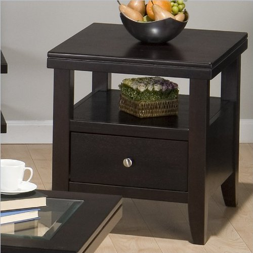 Jofran 091-3 End Table with Wood Top, Drawer and Shelf