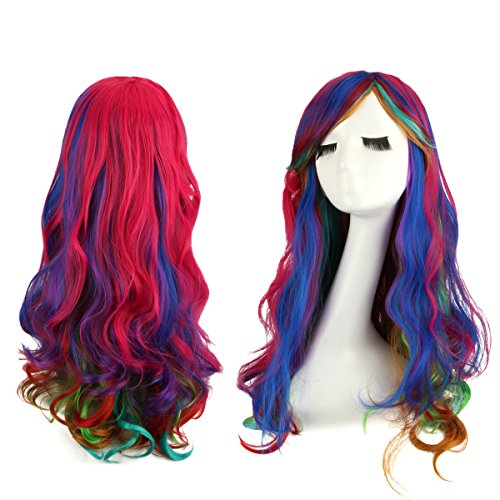 Leiwo Wavy Wigs,31.5 inch(80cm) Long Curly Wig with Wig Cap for Cosplay,Halloween Party-Colorful (Halloween Costumes With Colored Wigs)