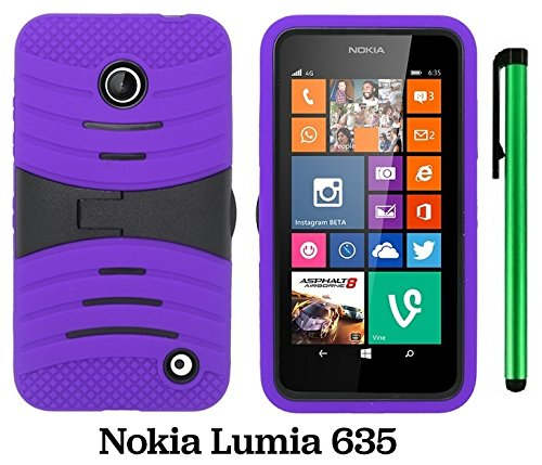 Premium Ucase With Kickstand Cover Case For Nokia Lumia 635 (Us Carrier: T-Mobile, Metropcs, And At&T) + 1 Of New Assorted Color Metal Stylus Touch Screen Pen (Purple / Black)