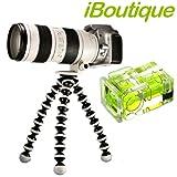 iBoutique Premium Flexipod GP2 SLR Flexible Tripod AND Hot Shoe Spirit Level For ALL Digital Cameras Up To 3KG. Canon EOS, 450D, 500D, 550D, 1000D Etc, Nikon D3000, D5000, D90, Sony Alpha DLSR Range, Fujifilm FinePix and Panasonic G1 & G2 Seriesby iBoutique