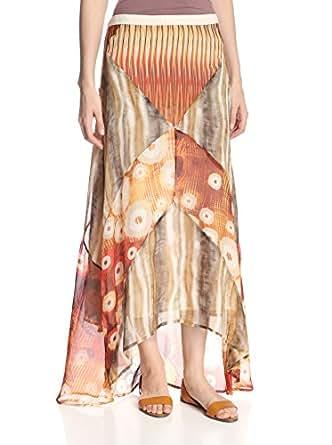 DA-NANG Women's Chili Boheme Sheer Patchwork Silk Skirt, M at Amazon