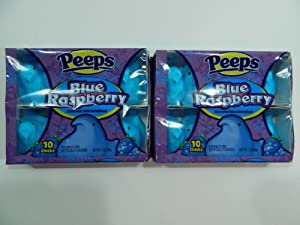 Pack of 2 Peeps Blue Raspberry Flavored Marshmallows 10 Chicks Per Pack